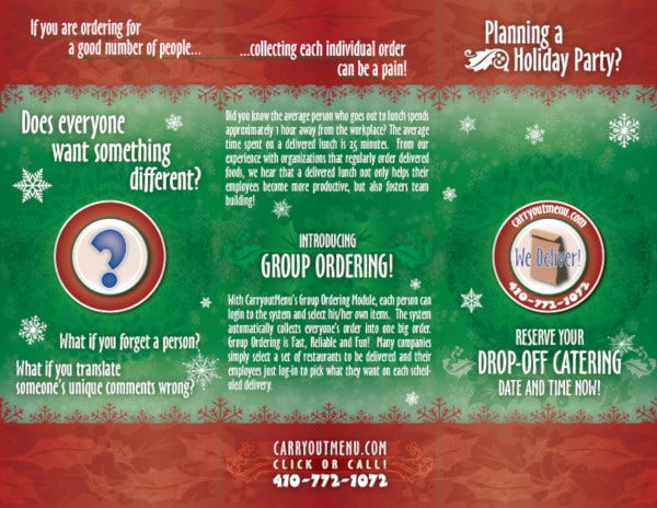 holiday corporate catering brochure