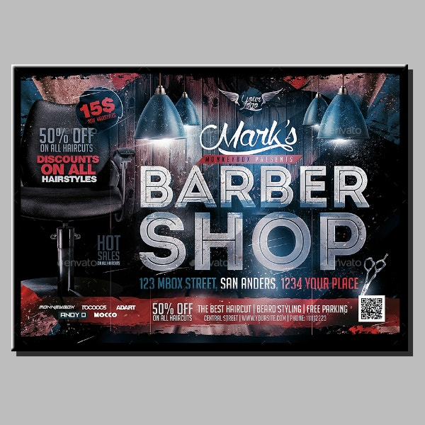 horizontal barber shop flyer example