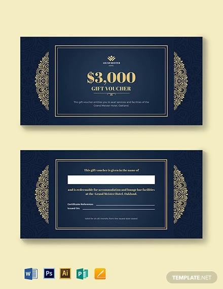 hotel wedding gift voucher template