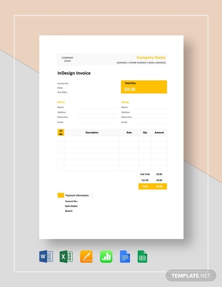 indesign invoice template