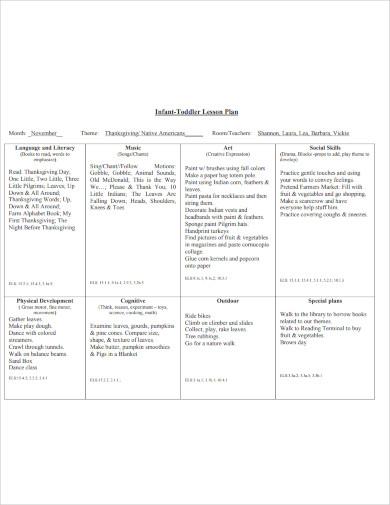 infant toddler lesson plan