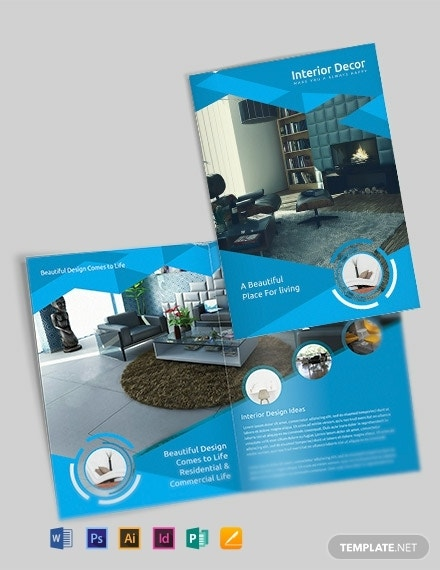 interior decor bi fold brochure sample