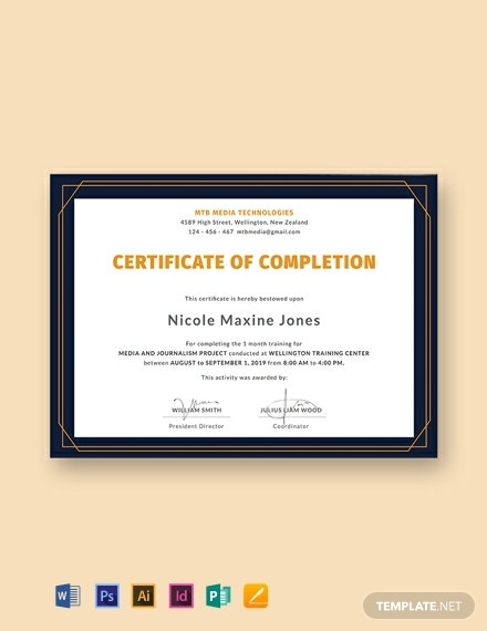 journalism training completion certificate template