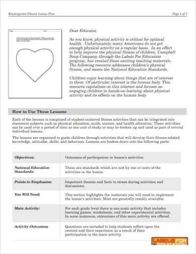 kindergarten fitness lesson plan template