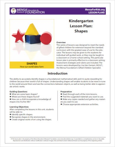 kindergarten lesson plan example