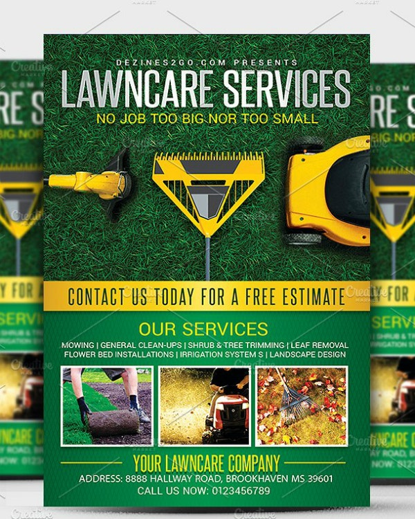 lawncare services company flyer example