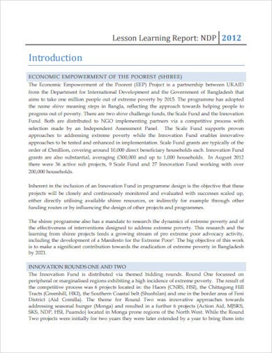 lesson learning report
