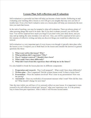 lesson plan self reflection and assessment for teacher
