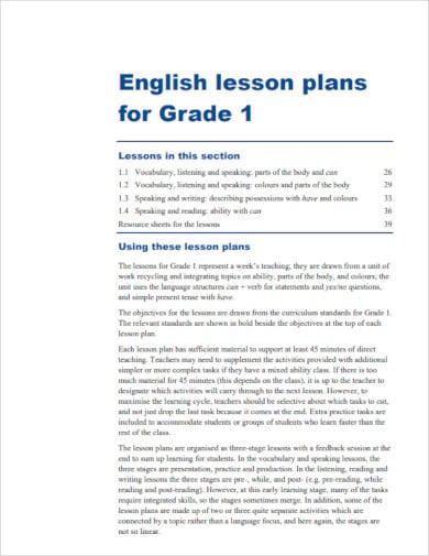 lesson plan for 1st grade