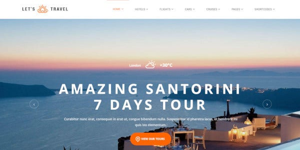 Let's Travel HTML5 WordPress Theme