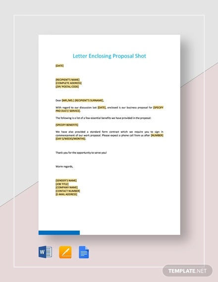 letter enclosing proposal short template