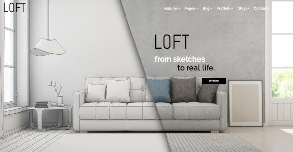 loft unique wordpress theme