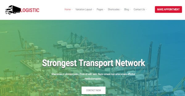 logistics – css3 wordpress theme