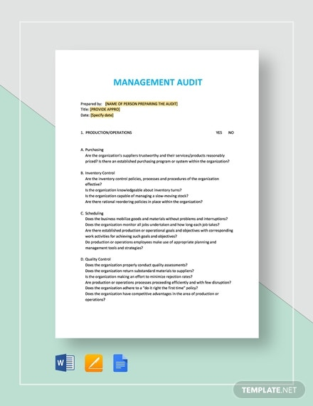 management audit checklist