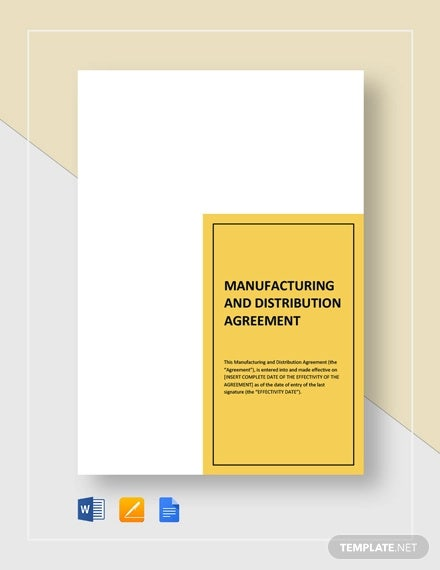 manufacturing distribution agreement template