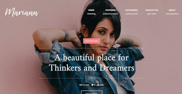 Mariann - 650 Google Fonts WordPress Theme