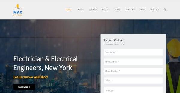 max electric powerful admin panel wordpress theme