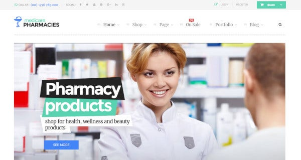 medicare pharmacies wordpress healthcare themes