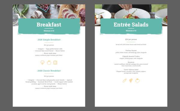 menu design for catering service