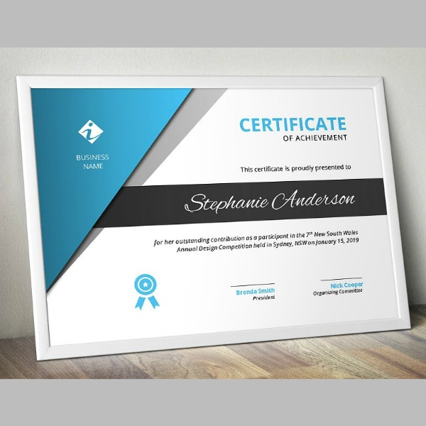 Minimal Business Achievement Certificate Example