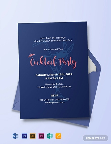 minimal cocktail party invitation card