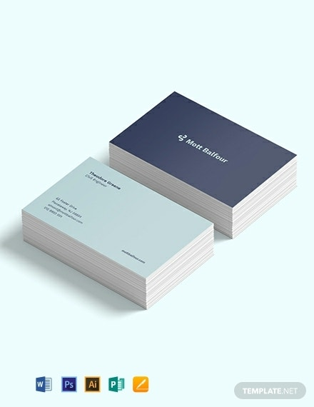 minimal engineer business card layout