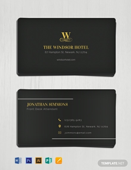 minimal hotel business card design
