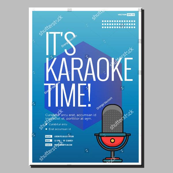 Minimal Karaoke Time Poster Design