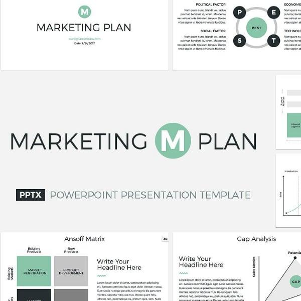 Minimal Marketing Plan PowerPoint Sample