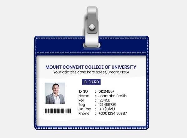minimal student id card template
