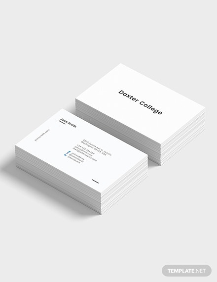 minimalist teacher business card example