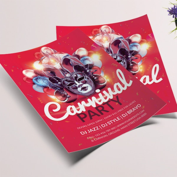 modern carnival party flyer layout