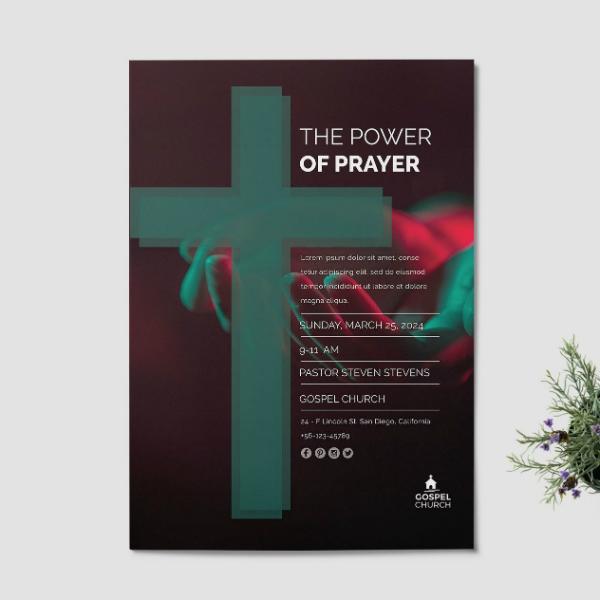 modern church prayer flyer layout