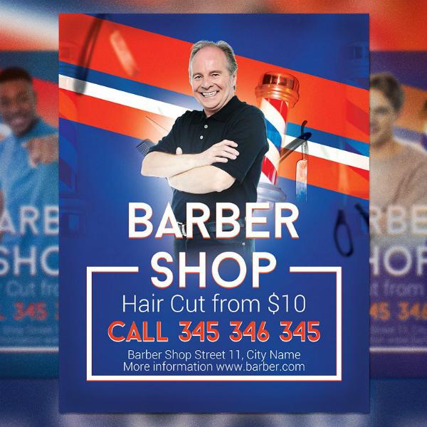 modern colorful barber flyer sample