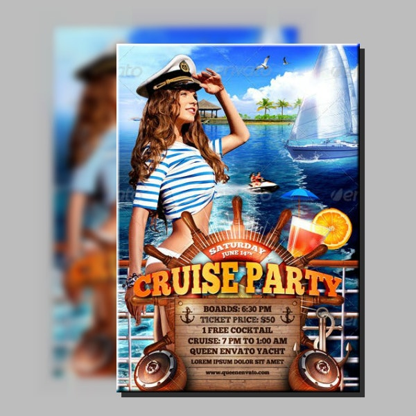 Modern Cruise Party Flyer Layout