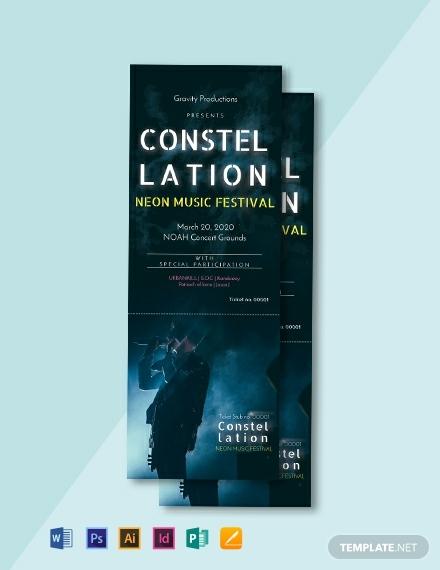 modern music event ticket layout