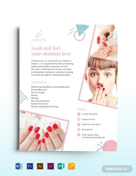 modern nail salon flyer template 440x570 1