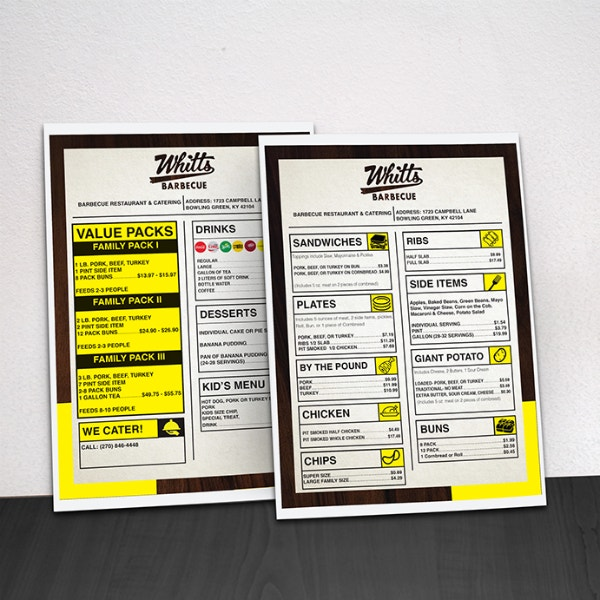 modern style barbecue menu example