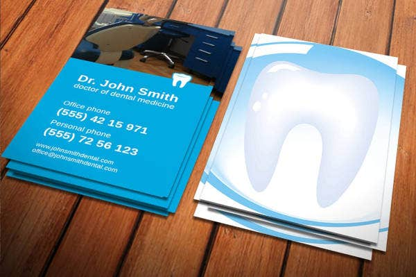Modern Vertical Dentist Business Card