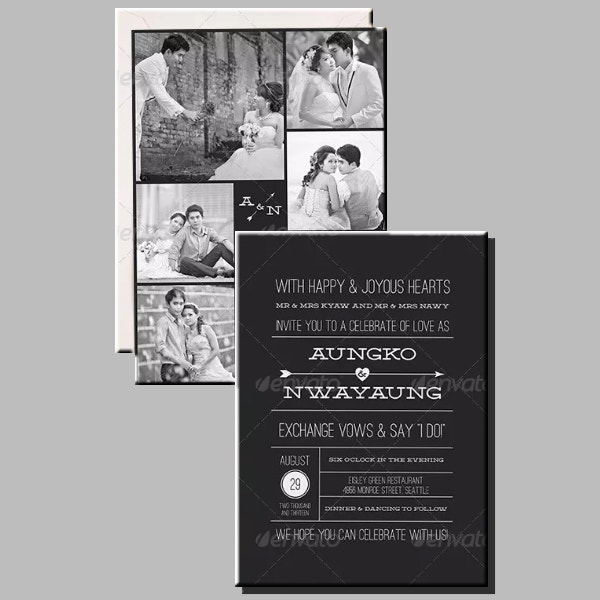 Monochrome Photo Wedding Invitation Example