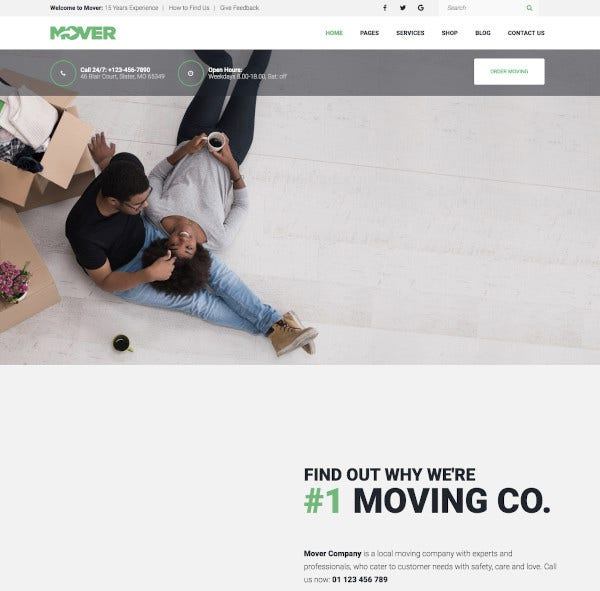 moving company storage services wordpress theme