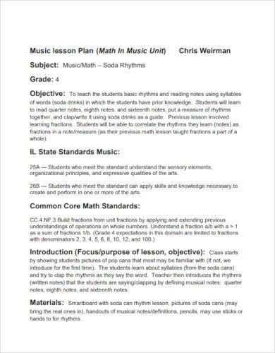 music lesson plan example