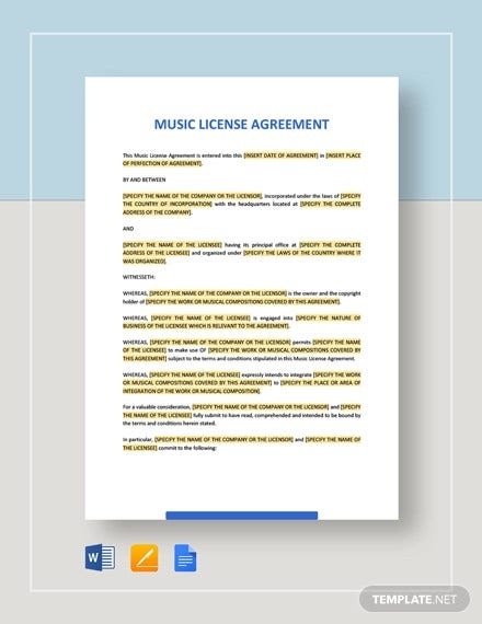 music license agreement template1
