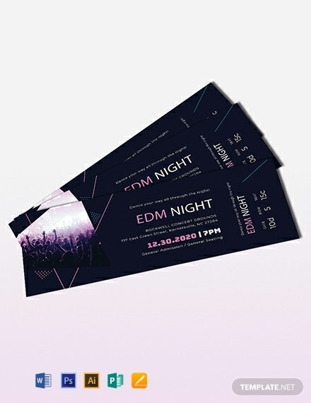 Music Theme Event Ticket Example