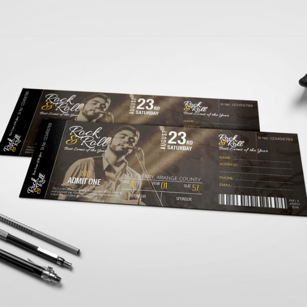 Musical Concert Event Ticket Sample