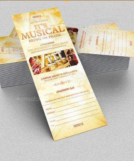 musical concert ticket template preview