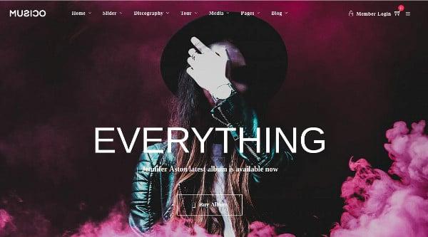 musico music band discography layout wordpress theme