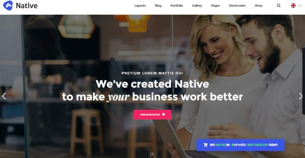 native business multi purpose wordpress theme