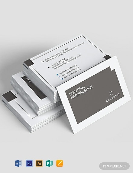 natural smile dentist business card