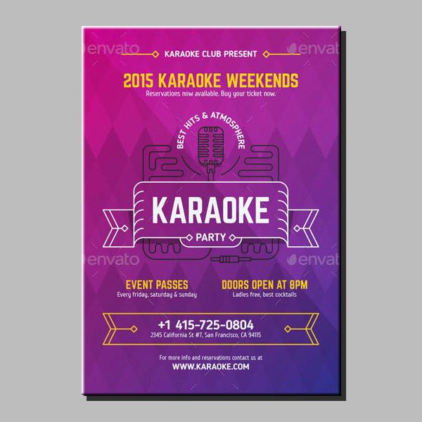 Neon Karaoke Weekend Poster Sample
